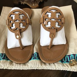 TORY BURCH MILLER SANDALS SAND TAN PATENT LEATHER